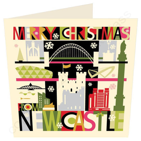 Large City Scape Newcastle (and Gateshead Quayside) Christmas Card -  Geordie Mugs Christmas Card