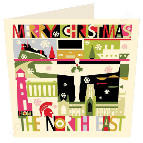 Large City Scape From The North East Christmas Card -  Geordie Mugs Christmas Cards