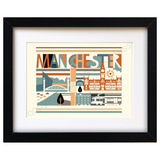 City Scape Manchester Brights Print Mounted Print