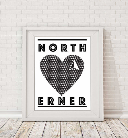 Northerner Heart Print