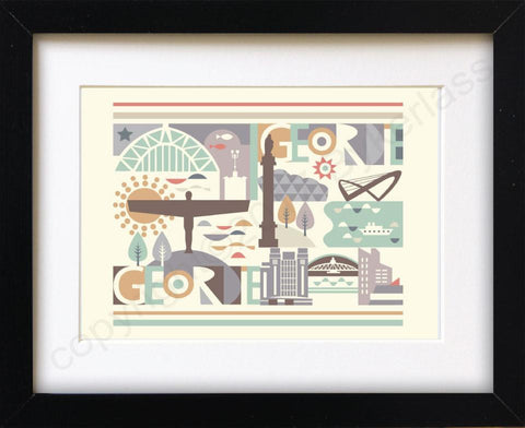 Geordie City Scape Print Mounted Print