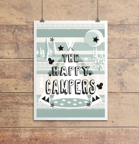 Happy Campers Print Sage