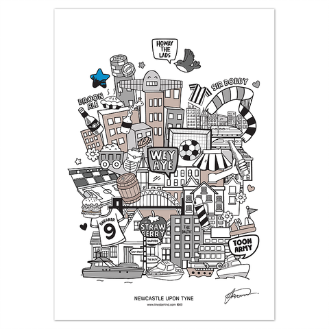 Newcastle Upon Tyne Illustrated Print