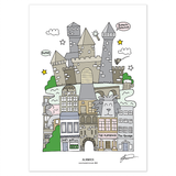 Alnwick, Northumberland Illustrated Print