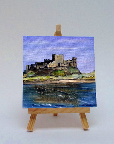 Ceramic tile with easel Bamburgh Castle Northumberland