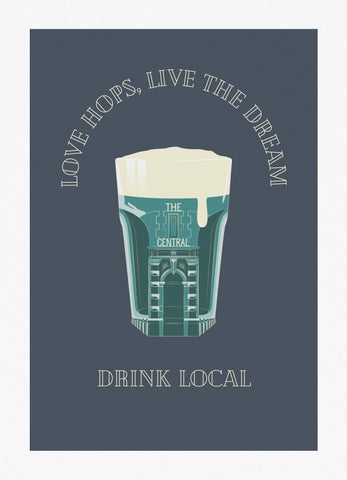 Drink local/Central Bar Giclee Print (No Frame)