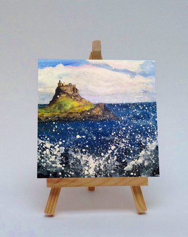 Ceramic tile with easel Holy Island 1
