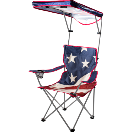 US Flag Print Shade Canopy Portable Chair Red White & Blue