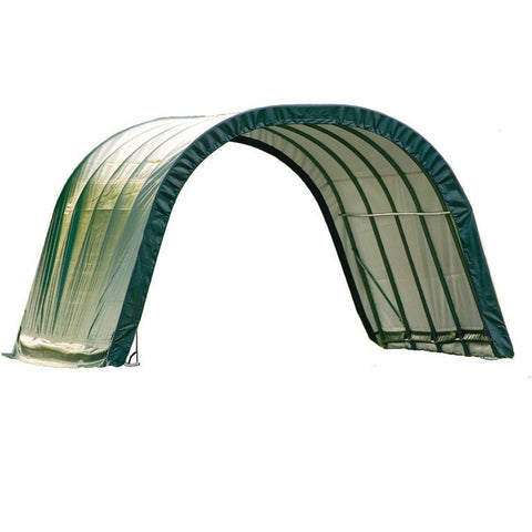 12x20x8 Round Style Shelter, Run-In Green Cover - Buy Online at YardEpic.com