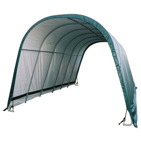 12x24x10 Round Style Shelter, Run-In Green Cover - Buy Online at YardEpic.com