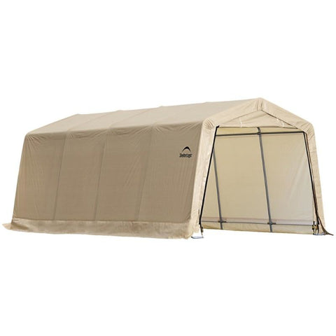 10X20 Auto Shelter, Peak Style Frame, Sandstone Cover - Buy Online at YardEpic.com