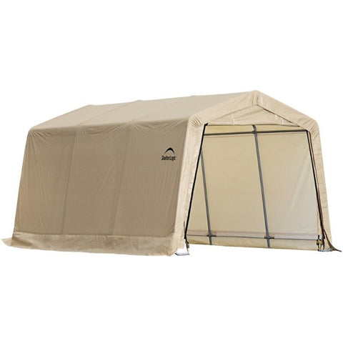 10X15x8 Auto Shelter Peak or Round Style Frame, Sandstone Cover - Buy Online at YardEpic.com