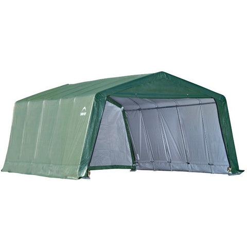12x20x8 Peak Style Hay Storage Shelter, Green Cover - Buy Online at YardEpic.com