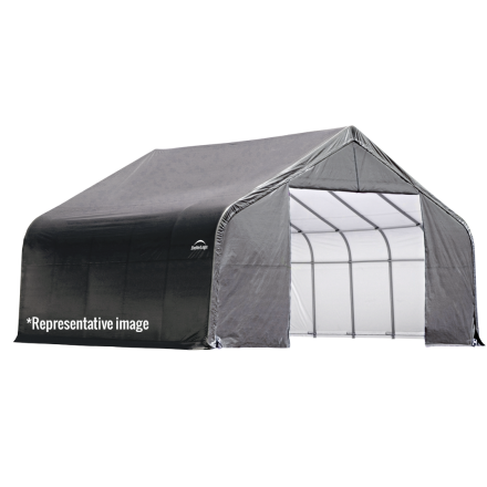 15x28x12 Peak Style Roof Shelter, Grey/Green Cover - Buy Online at YardEpic.com