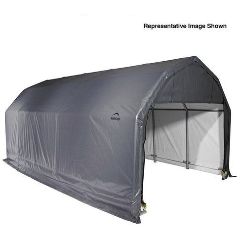 12x24x11 Barn Shelter, Grey/Green Cover - Buy Online at YardEpic.com