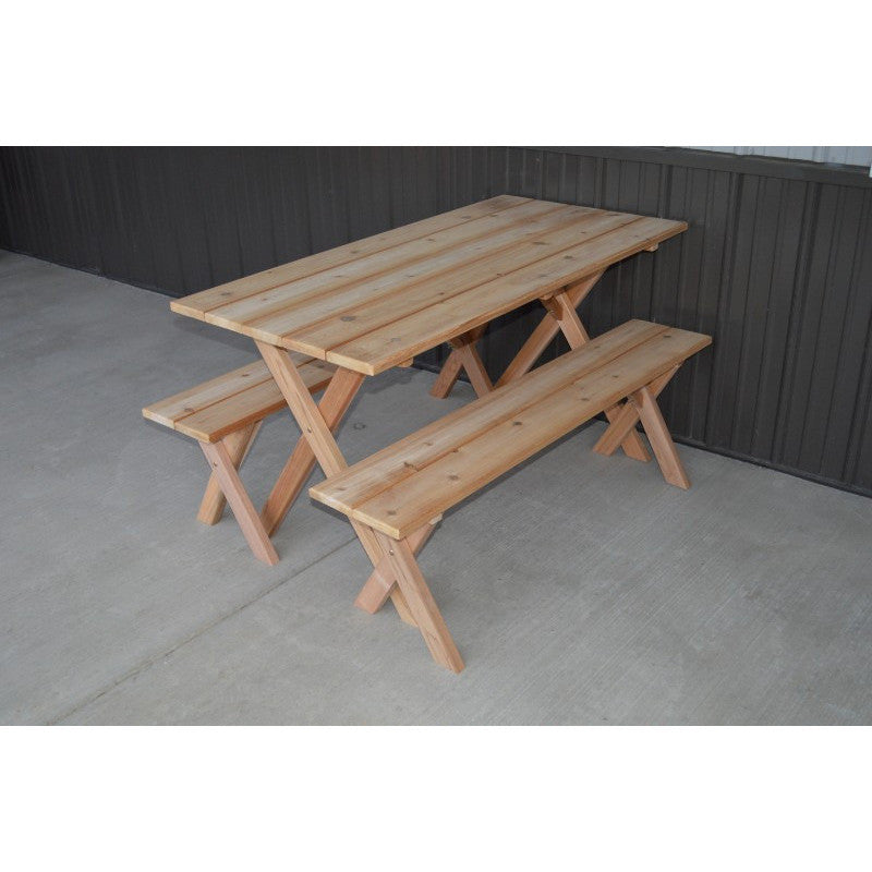 5 Foot Cedar Wood Table W 2 Benches Stained Yardepic