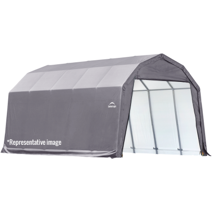 12x20x9 Barn Shelter, Grey/Green Cover - Buy Online at YardEpic.com