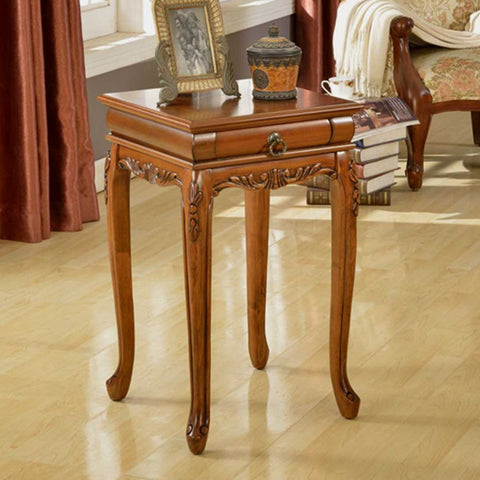 Stylish Shaped Leg Square Table with Small Drawer