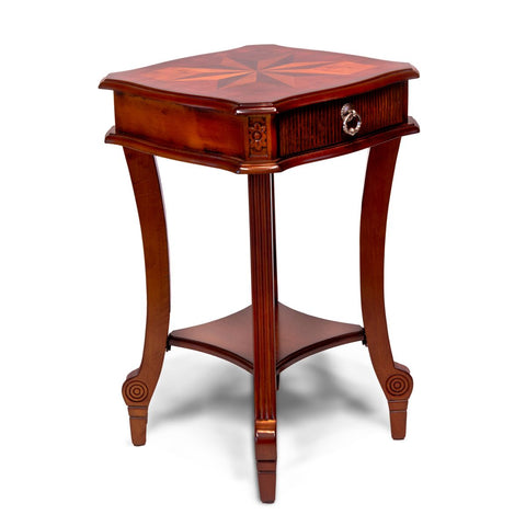 Designer Square End Table Living Room Stand Cherry Color