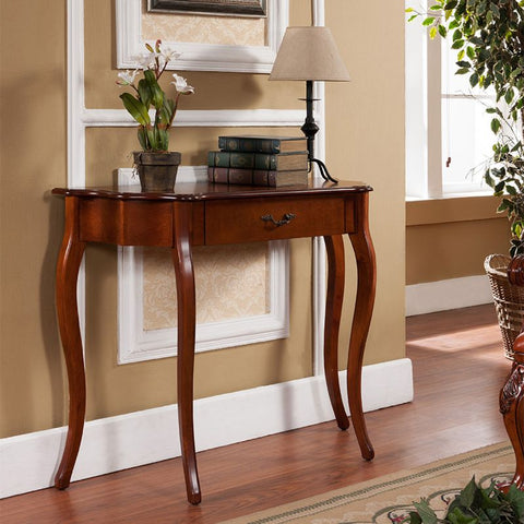 Curved Long Console Entryway Table with Drawer