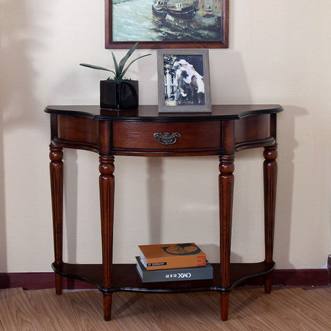 Console Half Moon Crescent Display Table Birch Veneer Cherry Finish