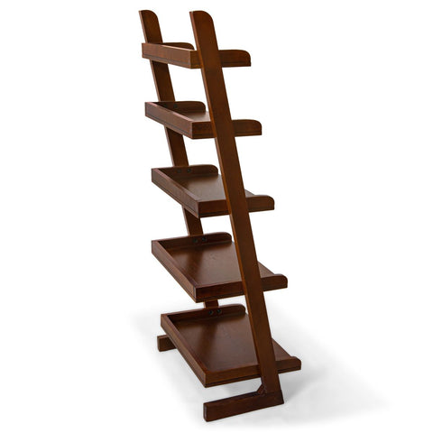 5-Tier Ladder Shelf in Birch Wood Cherry Finish