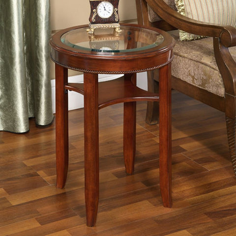 Glass Top Tea Lamp Side Table Round Dining Living Room Cherry Color
