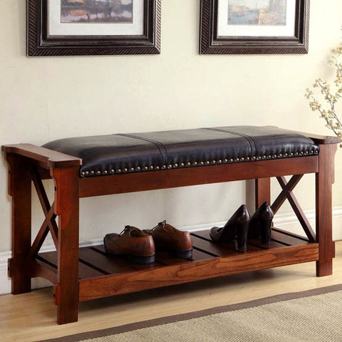 Wood Entryway Bench w/ Lower Rack for Shoes / Bins