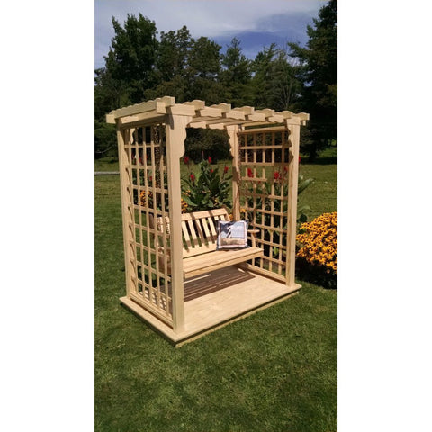 Lexington Arbor w/ Deck & Swing in Pine - Buy Online at YardEpic.com