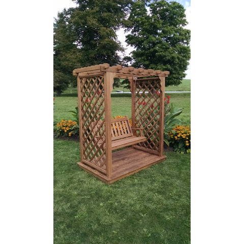 Covington Arbor w/ Deck & Swing in Pine - Buy Online at YardEpic.com