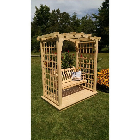 Cambridge Arbor w/ Deck & Swing in Pine - Buy Online at YardEpic.com