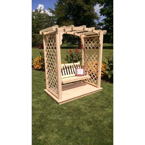 Jamesport Arbor w/ Deck & Swing in Pine - Buy Online at YardEpic.com