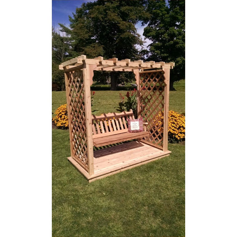 Covington Arbor w/ Deck & Swing in Cedar - Buy Online at YardEpic.com