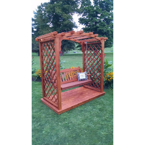 Jamesport Arbor w/ Deck & Swing in Cedar - Buy Online at YardEpic.com