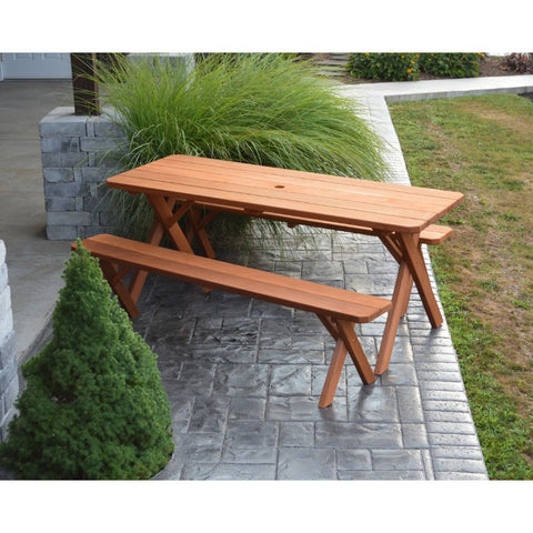 Cross-leg Table & 2 Benches in Cedar - Buy Online at YardEpic.com