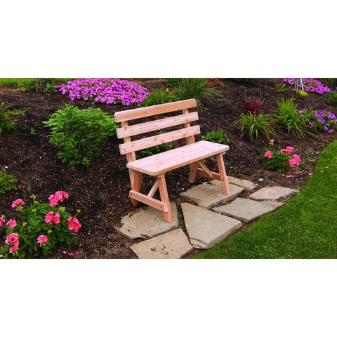 Horizontal Backed Bench in Cedar - Buy Online at YardEpic.com