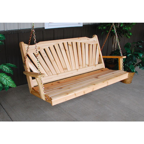 Wood Fanback Hanging Swing Bench in Pine - Buy Online at YardEpic.com