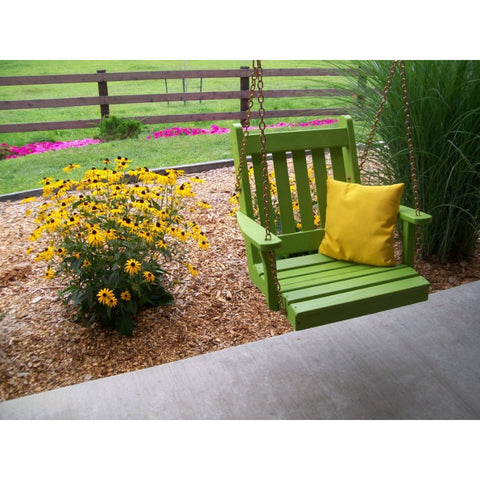 2 Ft. Wide Traditional English Chair Swing in Yellow Pine - Buy Online at YardEpic.com