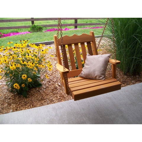 Wooden Hanging Chair Swing Bench Cedar Many Widths - Buy Online at YardEpic.com