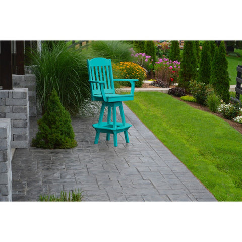 Outdoor Swivel Bar Chair w/ Arms HDPE Poly - Buy Online at YardEpic.com