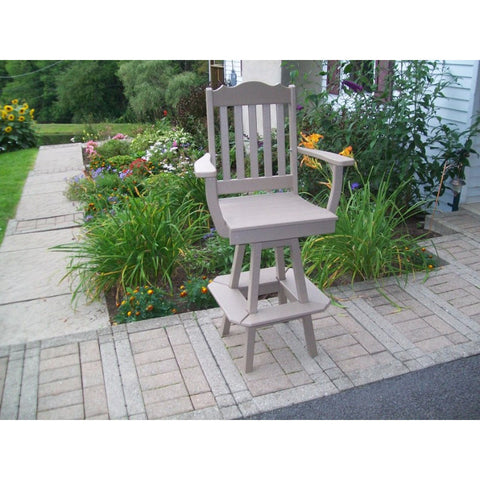 Royal Outdoor Swivel Bar Chair w/ Arms HDPE Poly - Buy Online at YardEpic.com