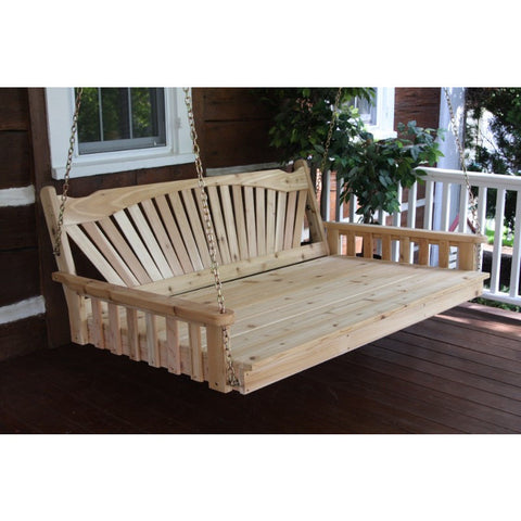4, 5, 6 Ft. Fanback Porch Swingbed in Cedar Wood - Buy Online at YardEpic.com