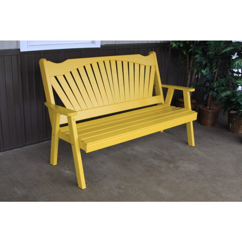 Fanback Garden Bench in Pine - Buy Online at YardEpic.com
