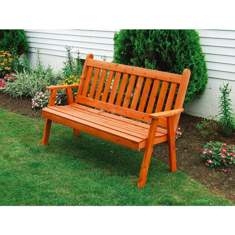 Traditional English Garden Bench in Cedar Wood - Buy Online at YardEpic.com