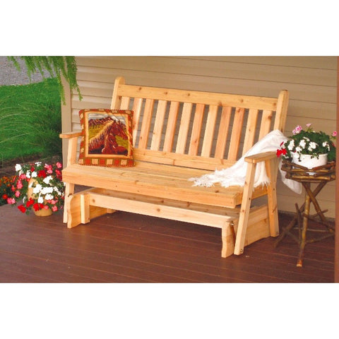 Traditional English Glider Bench in Cedar - Buy Online at YardEpic.com