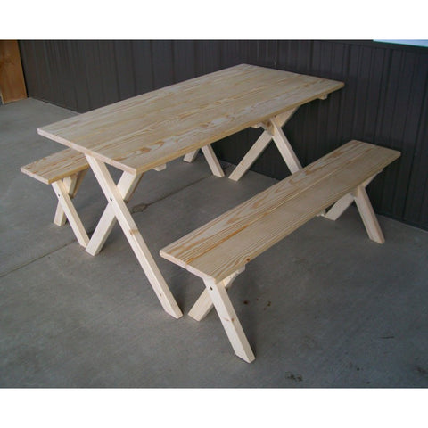Economy Table w/ 2 Benches in Yellow Pine - Buy Online at YardEpic.com