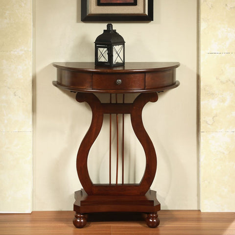 Harp Table Half Moon Accent Stand with Small Drawer