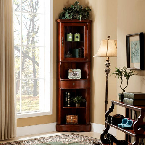 Corner Dining Cabinet Living Room Curio China Display Cherry Color
