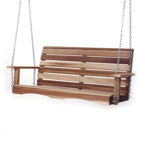 Porch Swing, 4ft Wide Rot Resistant Cedar Wood