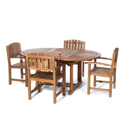 5-Piece Oval Dining Chair Teak Set